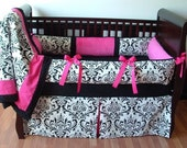 SALE! Custom Modpeapod Black White Fuchsia Hot Pink Crib Baby Bedding Set ONLY ONE on sale and ready to ship