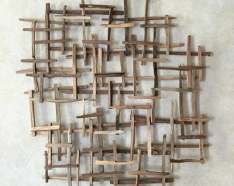 Natural Walnut Wood Organic Grid Wall Art, Farmhouse, Industrial, Reclaimed Wood Art, Made to Order