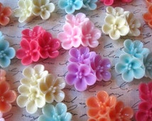 Flower Cabochons / Flower Clusters / Mixed Lot / 31mm / Resin Flower Cabochon / Large Flower Cabs / No Holes