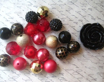 Necklace Kit, Red Beads, Black Beads, Gold Beads, Chunky Gumball Bead Kit, Bubblegum Necklace Kit, Hardware Included, DIY Jewelry