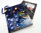 Universe Composition Notebook Cover, Refillable Journal Cover, Fabric Notebook - Colorful Universe, Cosmos, Galaxy Diary