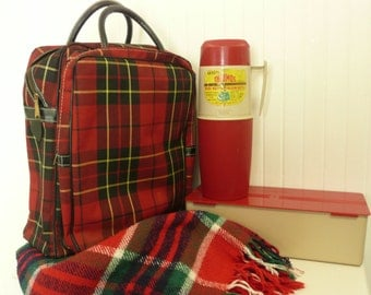 TWO COMPARTMENTS Vintage Complete Picnic Camping Set W/ Cotton Tablecloth Throw, Thermos Bottle, Sandwich Box, in Carrying Bag, Lunchbox
