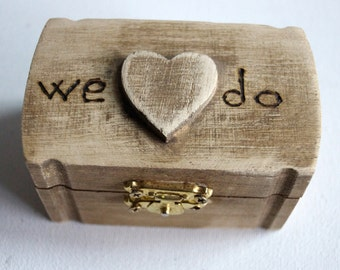 We Do Rustic Wedding Wood Box Brown Bearer Box Monogram Weddings Date Ring Proposal Anniversary Wooden Box