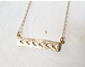 Fall Sale Gold Bar Necklace, Hammered Bar Necklace, Gold Filled Necklace