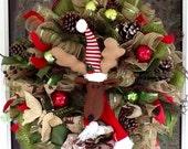 SALE Reindeer Mesh Christmas Wreath,Holiday Wreath, Christmas Wreath, Deco mesh Wreath, Burlap Christmas wreath