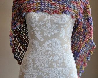 Poncho Style Wrap, Hand Crocheted Triangle Shawl, Ladies Accessory, Summer Wrap, Pastel Rainbow Shawl