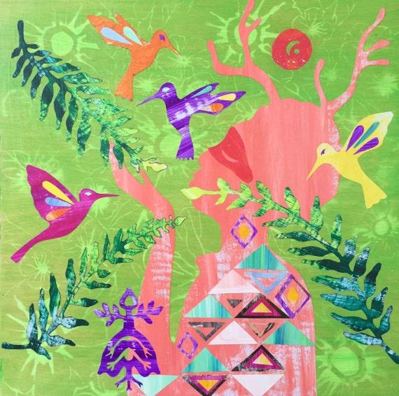 Print Art Painting Collage Native American Folk Art Giclee Print Woman Deer Horns Hummingbird Green Red
