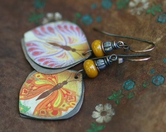 Rustic Boho Women Butterfly earrings n87- tin Jewelry , retro , upcycled metal , butterfly motif,  romantic , friendship , woman , nature