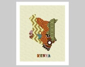 Kenyan Map With Counties Art Print Wall Decor, Kenyan Poster,  Nairobi Kenyan African Art Print, African Map Poster