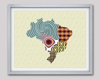 Brazil Map, Brazil Art, Brazil Poster, Brazil Map Decor, Geometric Travel Poster Brazil, Brasília, Rio de Janeiro
