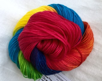 Sock - Smarties - hand dyed sock yarn, red, orange, yellow, green, blue, purple