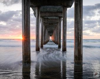 California Landscape Photography Print - La Jolla Pacific Ocean Coast - Scripps Pier - MetalPrint Option - 11x14 16x20 20x30 24x36 30x40