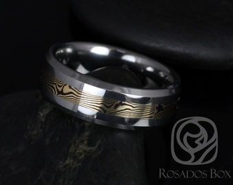 Kenshi 14kt Yellow Gold & Shakudo Mokume Gane Tungsten Carbide Beveled Edge Band
