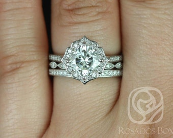 Rosados Box Rori 7mm, Ult Pt Leah, & Victoria 14kt Gold Cushion F1- Moissanite Diamond Halo WITHOUT Milgrain TRIO Wedding Set