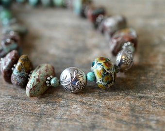Rustic turquoise nugget necklace Woodland motif lampwork glass & sterling silver bead necklace Semi precious stone nugget jewelry