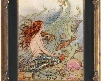 Fantasy Mermaid Art Print 8 x 10 - Art Deco Nouveau Storybook Nautical Siren Mermaids Ocean Beach House Wall Art Whimsical