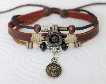 049 Women's brown leather bracelet Ancient face bracelet Charm bracelet Beads bracelet Rings bracelet Fashion jewelry For women and girls
