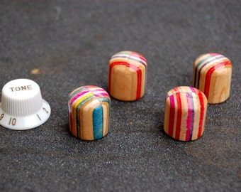 Recycled skateboard guitar knobs vertical layers, 4 knobs for pots for him for her