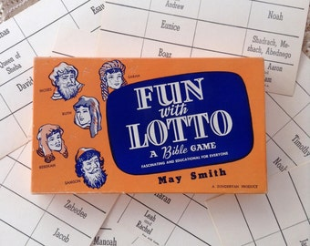 Vintage 1955 Bible Game Fun with Lotto Bingo Religious Characters Names Learning Teaching May Smith Zondervan Product Church Home School