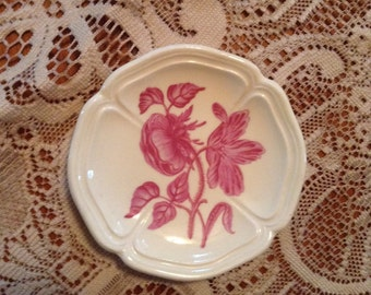 Wedgewood China Husk Pattern Butter Pat England Red Transferware Pink Floral Collectible Small Dish Queens Shape