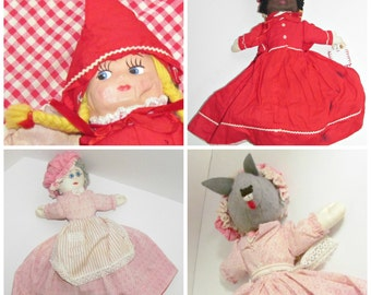 Vintage Topsy Turvy Doll, Little Red Riding Hood, Granny, Big Bad Wolf, Black Mammy from Gone With the Wind