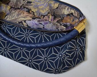 Small  fabric handbag,handmade,  Japanese aizome cotton