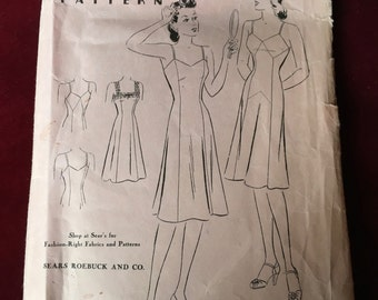 Vintage 1940's Patterns,  Slip with Pointed Top Patters, Sears 9939, Bust 36