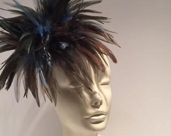 Fascinators- Kentucky Derby Hats- Navy Fascinator- Wedding fascinator- Navy Feather-Fascinator- Blue Headpiece- Navy Hat- Kentucky Derby