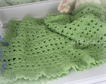 Baby Blanket Crochet Pattern, Green Scallops Baby Afghan, Easy Crochet Pattern, Instant PDF Download