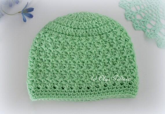 Star Stitch Crochet Baby Hat Beanie Pattern Size 0-3 Months