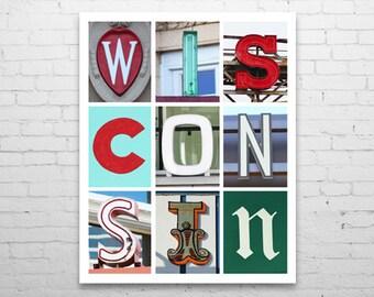 "8 x 10"" Wisconsin Typography print"