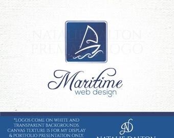 Premade Sailboat Logo - Sailing Maritime Sail Boat Blue Ocean Blue Water Logo Brand Branding
