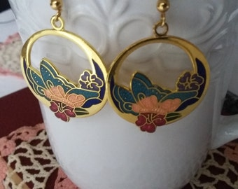 SUMMER 50%OFF SALE Vintage Art Nouveau Style Cloisonne Cutout Gold Earrings, Cloisonne Earrings
