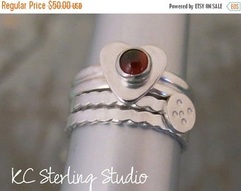 20% off Summer Sale - Garnet and sterling silver stacking rings - set of 3 - metalsmith silversmith
