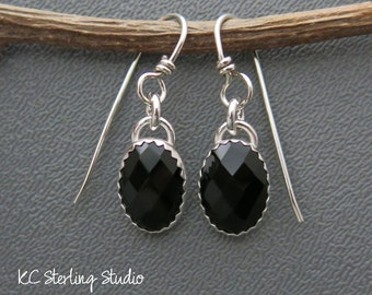 Faceted black onyx sterling silver dangle earrings - metalsmith