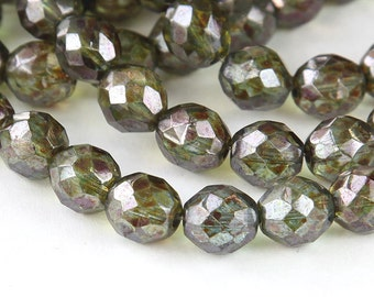 Transparent Green Luster Czech Glass Beads, 10mm Faceted Round - 25 pcs - e65431-10