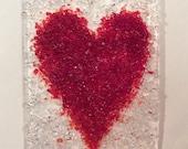 CRYSTAL & RED VALENTINE Love Heart- NightLight Fused Glass Night Light