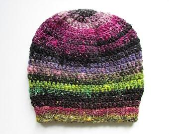 Crochet Knit Slouch Beanie Hat, Mens Women Unisex- Colourful Stripe Noro- Chunky Winter Wool