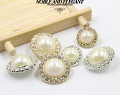 6 pcs 0.71~0.98 inch High-grade Fashion White Pearl+Gold/Silver Rhinestones Metal Shank Buttons for Coats