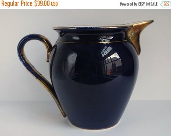 ON SALE Antique Waechtersbach Pitcher / German Flow Blue / Cobalt Blue / Ceramic / Gold / Earthenware / 19th Century