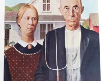 Color Plate from Encyclopedia Brittanica / American Gothic / Grant Wood /