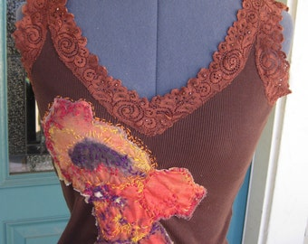 SEXY LACY TEE, Burnt Sienna Color, Hand-Embroidered Poppies, Beaded Neckline, Size Small