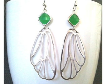 Angel's Wing Green silver Drop Earrings - Dangle Earrings,bridesmaid gifts,Wedding Earrings,anniversary gift