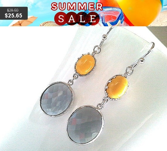 Vintage Cool Gray Earrings,Yellow Silver Earrings, Drop, Dangle, Glass, bridesmaid gifts,Wedding jewelry, Bridesaid Jewelry