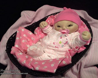 """Soft Sculpture Doll, 17"""" art doll, Plush doll, Weighted, Realistic, Lifelike, Baby Doll, newborn doll, Lizzie's Keepsakes, therapy doll"""