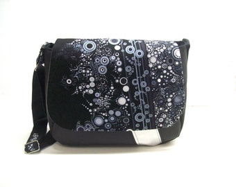 messenger bag black and silver faux leather effervescence fabric flap crossbody bag black and grey