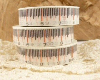 Tape Measure Washi Tape, Black and White - QQ1585