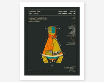 SPACE CAPSULE 1963 (Giclée Fine Art Print/Photo Print/Poster Print) dark version