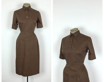 50s Brown Shirtwaist Wiggle Dress • 1950s Fitted Day Dress • Short Sleeve Collared Shirt Waist Dress • Small