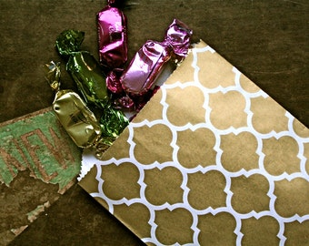 Party or wedding favor bags, set of 50 white kraft paper bags with gold arabesque design. Candy buffet, goodie bags, bitty bags.